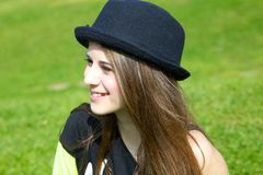 Portrait of fresh cute teenager girl with hat Royalty Free Stock Photos