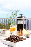 Portrait of fresh morning coffee at breakfast Royalty Free Stock Photos