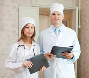 Portrait of friendly doctors in clinic Royalty Free Stock Image