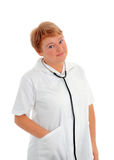 Portrait of a friendly female doctor Royalty Free Stock Image