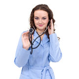 Portrait of a friendly female doctor with Royalty Free Stock Photography