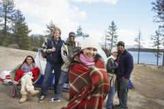 Portrait Of Friends At Campsite. Group portrait of multiethnic friends at campsite Royalty Free Stock Photo