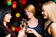 Portrait of friends celebrating New Year Stock Image