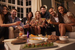 Portrait Of Friends With Drinks And Snacks At Party Royalty Free Stock Photo