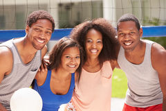 Portrait Of Friends Playing Volleyball Match Royalty Free Stock Photos