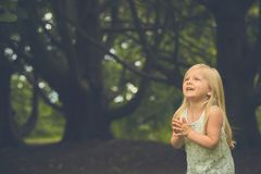 Portrait of frightened little girl in forest. Portrait of frightened little Caucasian girl wearing white dress praying or crying in forest Stock Photos