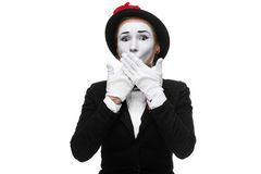 Portrait of the frightened mime Stock Photography
