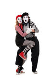 Portrait of frightened mimes Royalty Free Stock Image