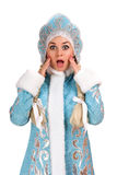Portrait of a frightened Snow Maiden Stock Photography