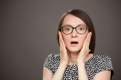Portrait of a  frightened young woman Royalty Free Stock Photo