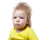 Portrait frowning baby isolated Royalty Free Stock Images