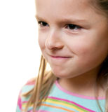 Portrait of frowning girl Royalty Free Stock Images