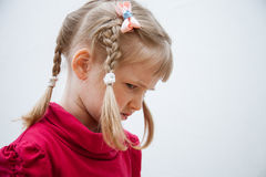 Portrait of a frowning little girl Royalty Free Stock Photos