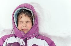 Portrait of the little child outdoor. Portrait of the frozen child,selective focus Royalty Free Stock Photography