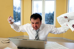 Portrait of frustrated businessman - bankrupt. Stock Photo