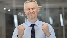 Portrait of Frustrated Grey Hair Businessman Reacting to Financial Disaster stock video footage