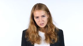 Portrait Of Frustrated ,Upset And Angry Businesswoman, White background Stock Photos
