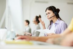 Frustrated Hotline Operator stock photography