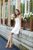Portrait in full growth, attractive young woman in a sexual dres Royalty Free Stock Images