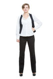 Portrait in full growth. Businesswoman legs wide Stock Photography