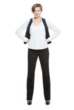 Portrait in full growth. Businesswoman legs wide Royalty Free Stock Photography