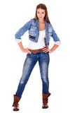 Portrait in full growth the young girl in a jacket and blue jean Royalty Free Stock Images