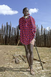 Portrait, full length red carpet, of Maasai teen Royalty Free Stock Images