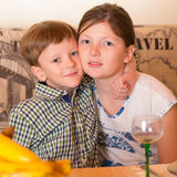 Portrait a fullface of the smil girl and the boy Royalty Free Stock Photography