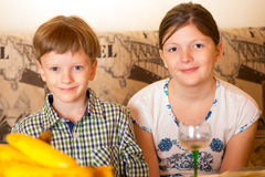Portrait a fullface of the smil girl and the boy Stock Image