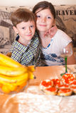 Portrait a fullface of the smil girl and the boy Royalty Free Stock Image