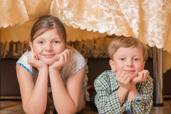 Portrait a fullface of the smil girl and the boy Stock Images