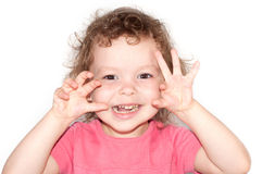 Portrait of fun beautiful little girl Stock Photo