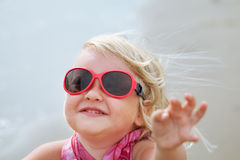 Portrait of fun happy girl wearing hat,  Italy, outdoor Royalty Free Stock Photo