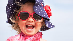 Portrait of fun happy girl wearing hat,  Italy, outdoor Royalty Free Stock Photos