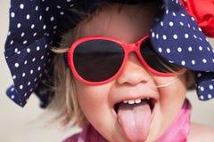 Portrait of fun happy girl wearing hat,  Italy, outdoor Stock Photos