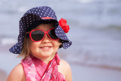 Portrait of fun happy girl wearing hat,  Italy, outdoor Royalty Free Stock Photography