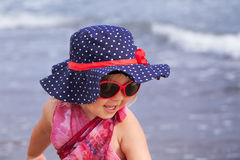 Portrait of fun happy girl wearing hat,  Italy, outdoor Stock Photography