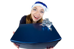 Portrait of fun woman received the gift Stock Photography