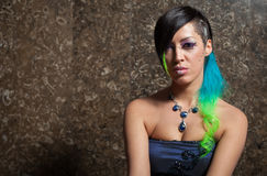 Portrait of funky bride. With colourful hair and makeup Royalty Free Stock Images