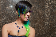 Portrait of funky bride. With colourful hair and makeup stock images