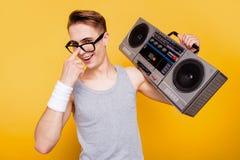 Portrait of funky cheerful nice positive optimistic caucasian gu stock photos