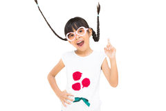 Portrait funny asian little girl with pigtail hair. Isolated on white Stock Photo