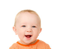 Portrait of funny baby boy with open mouth Stock Images