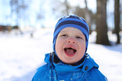 Portrait of funny baby in winter Royalty Free Stock Photo