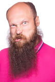 Portrait of a funny bald bearded man. Stock Photo