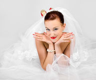 Portrait of funny beautiful bride Royalty Free Stock Images