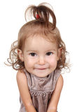 Portrait of funny big head child girl on white Stock Photography