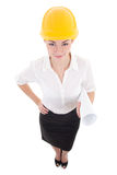 Portrait of funny business woman architect in yellow builder hel Royalty Free Stock Photos
