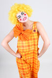 Portrait of funny clown with bow Stock Image