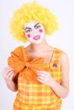 Portrait of funny clown with bow Royalty Free Stock Images